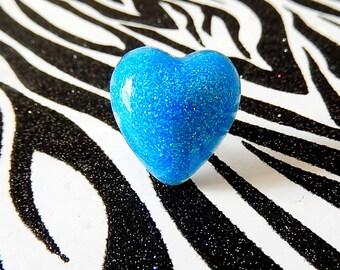 Blue Resin Ring, Sparkle Heart, Neon Blue, Kawaii Jewelry