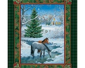 Blessed Are They Horse Panel Fabric Winter