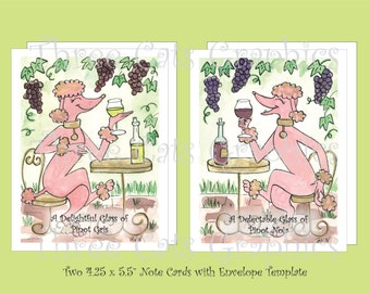 Pink Poodles with Pinot Noir & Pinot Gris Wine - 2 Note Cards with Envelope Template - Instant Download
