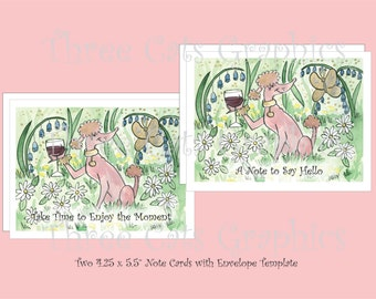 A Glass of Gamay in the Garden - Enjoy the Moment/A Note to Say Hello - 2 Note Cards with Envelope Template - Instant Download