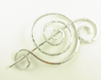 Silver Minimalist Hair Slide/Pin/Barrette/Clip/Fork Fancy Spiral