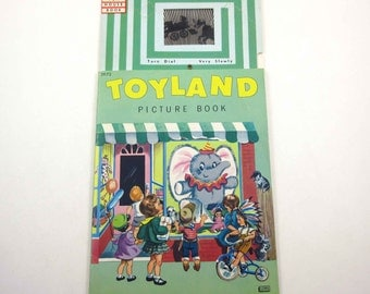 Toyland Picture Book wiht Tiny TV Vintage 1960s Children's Book with Fabulous Illustrations James and Jonathan Fun House Book