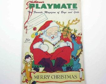 Vintage 1950s Children's Playmate Magazine December 1956 Illustrations by Fern Bisel Peat