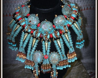 CLEARANCE SALE Aztec Goddess Turquoise and Coral - Semiprecious & Glass Bead Necklace made for 2015 Battle of The Beadsmith -  Hannah Rosner