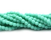 Czech Glass Beads Fire Polished Faceted Rounds 2mm Matte Turquoise (50) CZF790