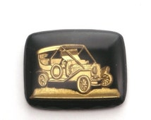 50% Off Sale 1 Vintage Western Germany Glass Intaglio - Old Style Car - Black and Gold VIC025