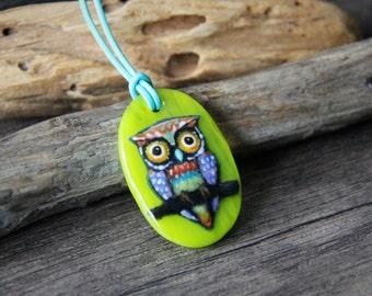 Gypsy Owls - fused glass pendant