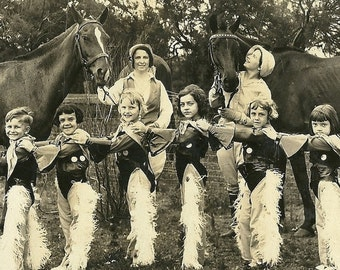 Valentines Day Sale Cowgirls Line Up, Vintage 1920's B&W Photograph, Digital Scan, Lenora Dorian Galveston Texas, Performer, Horses, Cowgirl