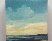"CALM PACIFIC, oil painting landscape painting original painting, 100% charity donation, oil paint on 4""x4""x1.5"" stretched canvas"