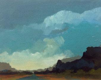 "EVE, oil painting landscape original oil, 100% charity donation, original painting  6""x8"" canvas panel, sky, clouds"