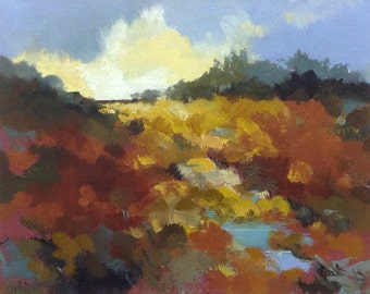 UP THERE, oil landscape painting original 100% charity donation, 8X10 canvas  panel, clouds, field