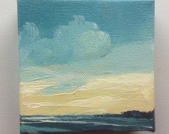 """CALM PACIFIC, oil painting landscape painting original painting, 100% charity donation, oil paint on 4""""x4""""x1.5"""" stretched canvas"""