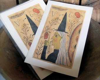 Do Goode Witch - LIMITED EDITION Folk Art Notecards - from Notforgotten Farm™