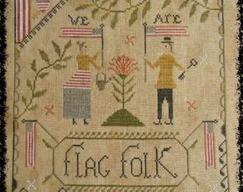 Flag Folk - PAPER cross stitch pattern from Notforgotten Farm™