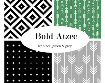Custom Crib Bedding-3 piece-Bold Aztec-black, green and grey-modern crib bedding