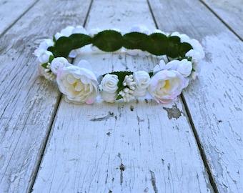 White Ivory Floral Crown, White Flower Headband, Flower Crown, Wedding Headpiece, Bridesmaid headpiece, flower girl headband