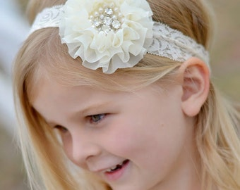 Ivory Cream Rhinestone Lace Headband, Toddler Lace headband, Girls,  headband, Flower girl headband, Wedding headpiece Rhinestone Pearls