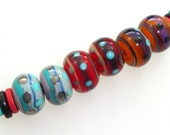 Handmade Lampwork Beads. Colorfest! Folk Art! 3 pairs. Lines & dots on gray, red, apricot.