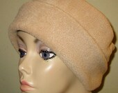 Camel   Anti Pill Fleece Pillbox Hat, Winter Hat, Cancer, Chemo Hat, Warm Hat