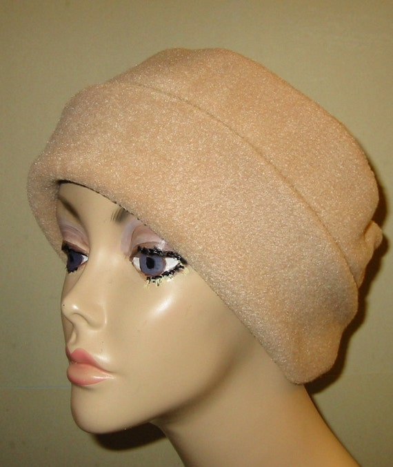 Camel   Anti Pill Fleece Pillbox Hat, Winter Hat, Cancer, Chemo Hat, Warm Hat