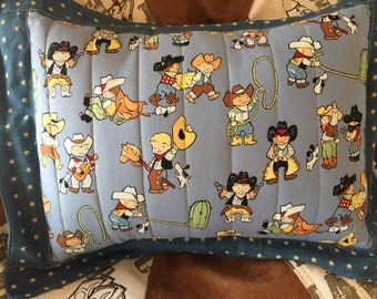 Western Childrens Cowboy Quilted Nursery Pillow