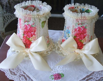 Lampshades,Shabby Cottage Pair of 2 Rose,Pearls and Lace Clip on Mini Lampshades for Small Night Lamps,Boudiour,Victorian, Marie Anttoinette