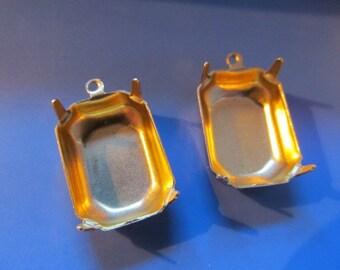 Brass Rhinestone Cabochon Octogon Setting (6) (18x13mm)