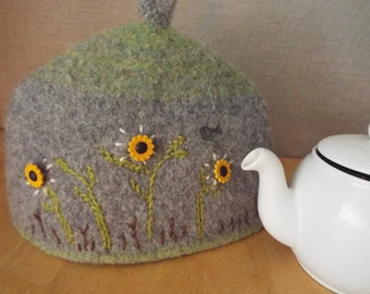 Sunflower Birdsong teapot cozy, cosy, tea cosie, felted, embroidered, buttons