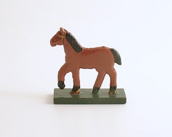 Antique Miniature Wood Horse Figurine Erzgebirge Flachfiguren Germany
