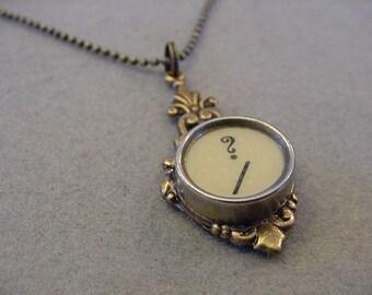 Brass Typewriter Key Necklace Cream QUESTION MARK  Typewriter Key Pendant Necklace Typewriter Jewelry
