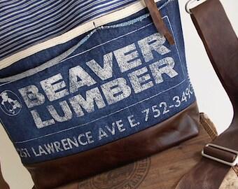 Leather & vtg lumber apron tote bag, crossbody, satchel - indigo stripe denim, Beaver Lumber Youngstown Ohio - eco vintage fabrics