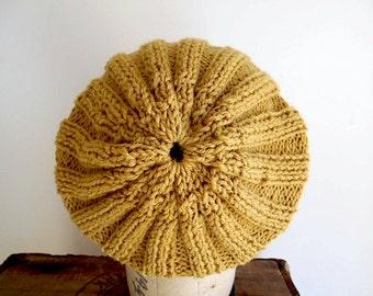 SALE Mustard wool beanie slouchy hat, hand knit - women men youth teen