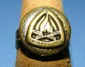 Camp Fire Girls vintage sewing button repurposed fashion ring