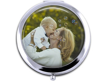 Personalized photo Compact Mirror , Mother's day gift, custom picture mirror, Purse Mirror,  bridesmaid gift, make up mirror