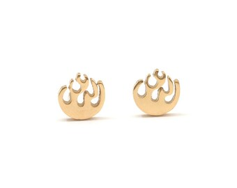 Fire Golden Stainless Steel Earring Post Finding (EX016)