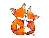 Fox Illustration Print Fox Art Print Fox Couple Love Illustration Orange Fox Art Print Fox Nursery Art Woodland Home Decor Fox Wall Art MiKa