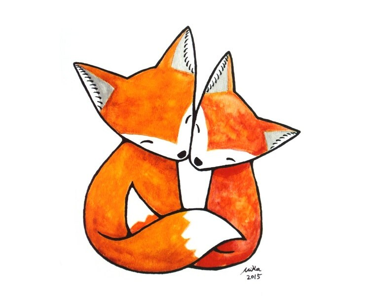 Fox Illustration Print Fox Art Print Fox Couple Love By