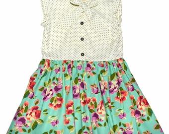 SAMPLE SALE - Effie Dress in Woodland Rose - Teal - Size 4