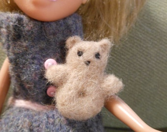 Tiny miniature Needle Felted Wool Teddy Bear for Remade Doll
