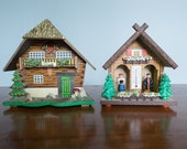 Two Vintage German Chalet Weather House & Music Box Kitsch AS IS