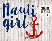 nauti girl svg, anchor svg, nautical svg, boat svg, boating svg, anchor clipart, anchor decal cutting file, nautical clip art, vinyl designs