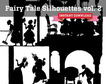 Volume 2 Fairy Tale Castle Silhouette Instant Download - 4 Collage Sheets of Storybook Townspeople and Castle Clipart for Commercial Use