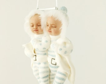 Twins Snow Baby Ornament. gift twin boys boy doll ornament baby's first Christmas keepsake glitter snow babies sleeping baby