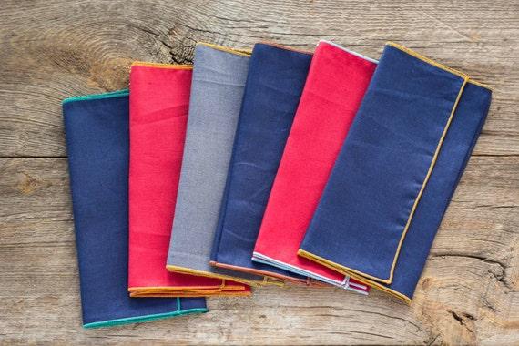 Linen Cloth Napkins, set of six, 100% linen multi colors