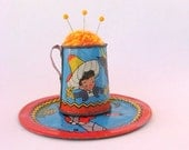 SHOP CLOSING SALE - Pin Cushion - Needle Felted - In Vintage Child's Tin Cup With Saucer - Sombrero, Bull, Red and Blue