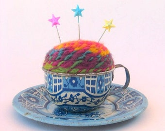 SHOP CLOSING SALE - Pin Cushion - Needle Felted - In Vintage Child's Tin Tea Cup With Saucer - Blue And White, Dutch