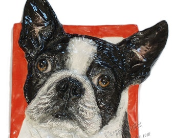 Boston Terrier CERAMIC Portrait Sculpture 3D Dog Art Tile In Stock Plaque FUNCTIONAL ART by Sondra Alexander ready to ship