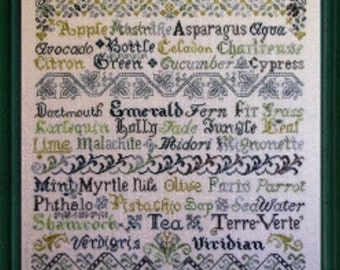 Cross Stitch Sampler Pattern, Verdant Variations Counted Cross Stitch Pattern by Tempting Tangles Designs, Green Words DD