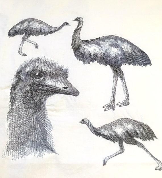 Emu medley design machine embroidered quilt block