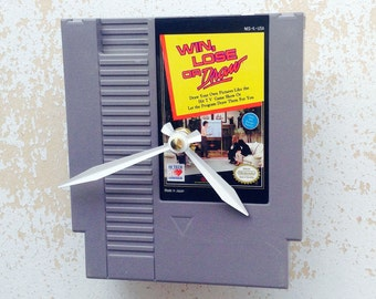Clock, Nintendo Video Game Cartridge Clock, Win Lose or Draw Game, Wall Clock, Home Decor, Geekery, Video Game